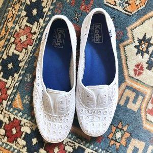 KEDS White Eyelet Slip On Shoes Sneakers Flats 7.5
